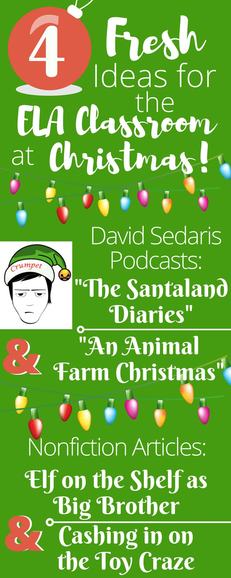 A few fresh ideas to bring Christmas topics to your secondary ELA classroom: David Sedaris podcasts and informational texts on controversial holiday topics like Elf on the Shelf as Big Brother and opening stores on Thanksgiving.