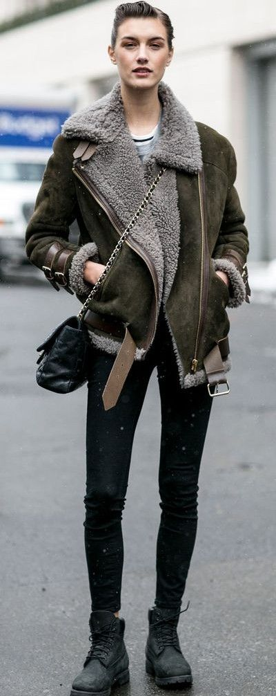 shearling jacket. #streetstyle