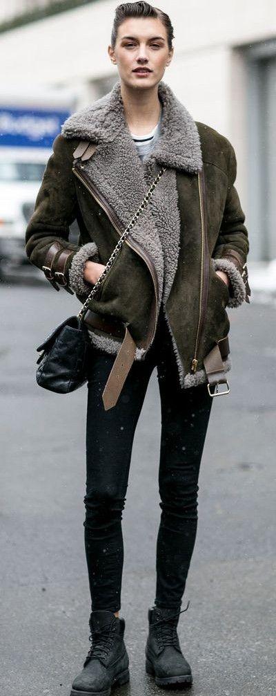 shearling jacket. #streetstyle