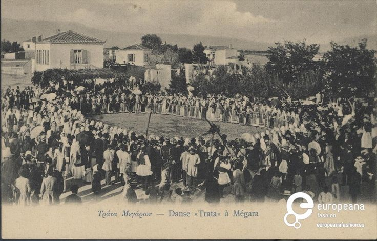 "Postcard B/W photo of the ""Trata"" dance at Megara. Inscriptions:""Τράτα Μεγάρων- Dance ""Trata"" a Megara"", ""ATHENES, Libraire de l'Hestia"". 1930"