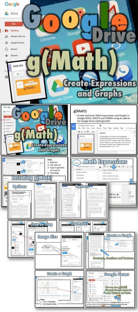 Create and insert Math Expressions and Graphs in Google DOCS, SHEETS and FORMS using a new add-on for Google Drive called g(Math)