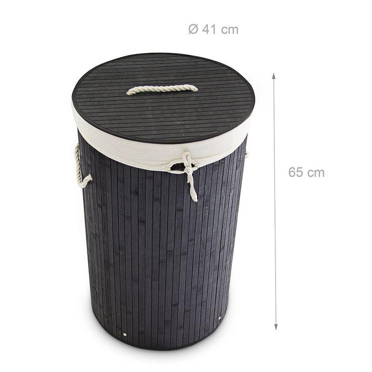 Superb Relaxdays W schekorb Bambus rund cm cm hoch cm faltbare W schetruhe mit einem