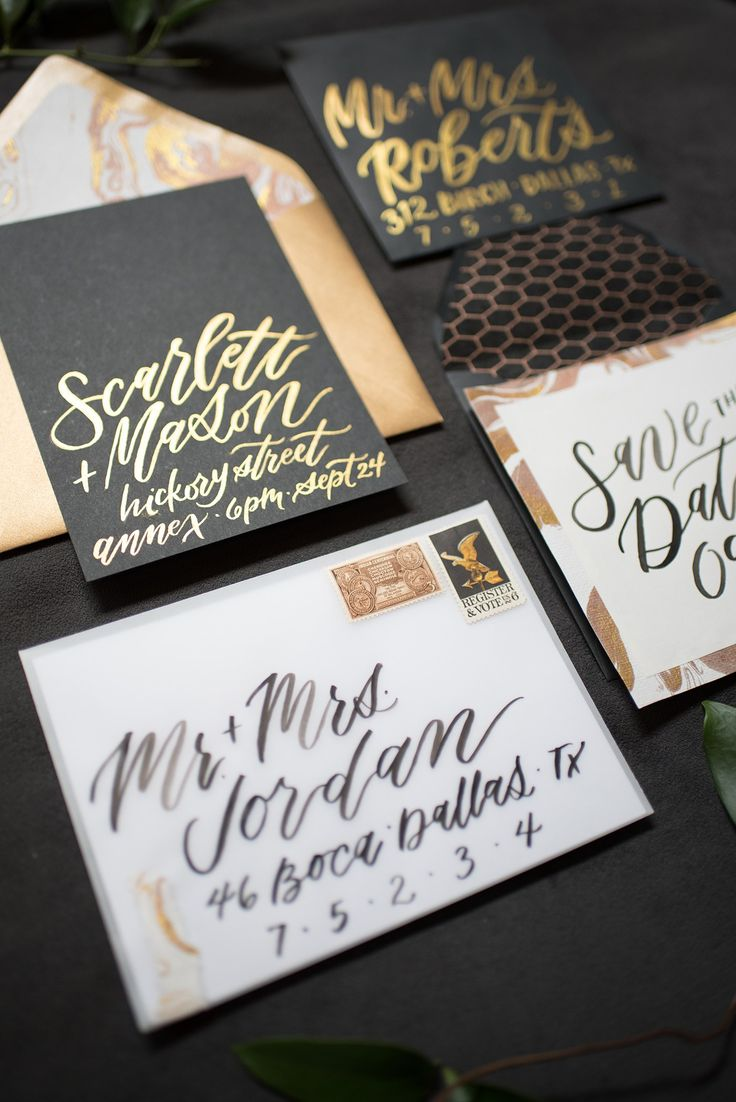 133 best wedding invitation suites sarah ann design images on custom wedding invitation design featuring gold metallic brush script on black paper for a glamorous look stopboris Choice Image