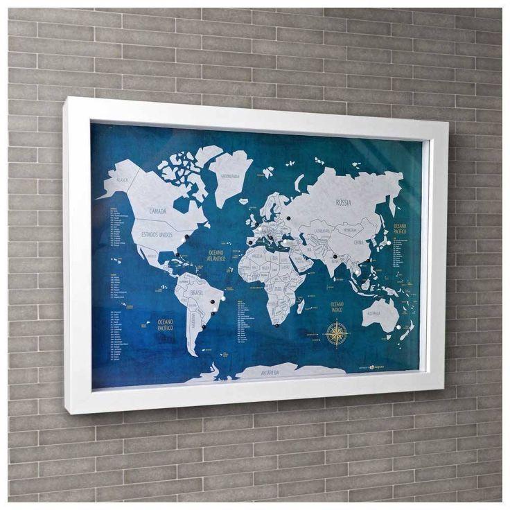 Mapa para marcar viagens. Quadro Box M - Mapa-Múndi Urban + 100 Pins Alfinetes QUA003A