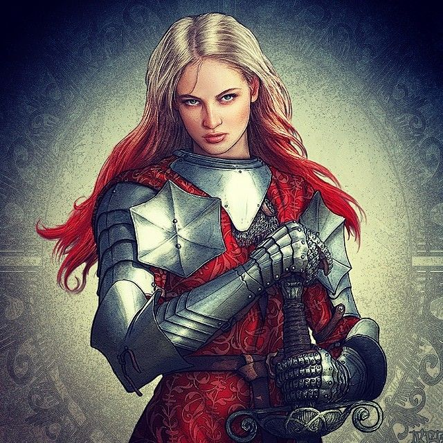 Kerem Beyit female knight, blond and red hair, armor ...