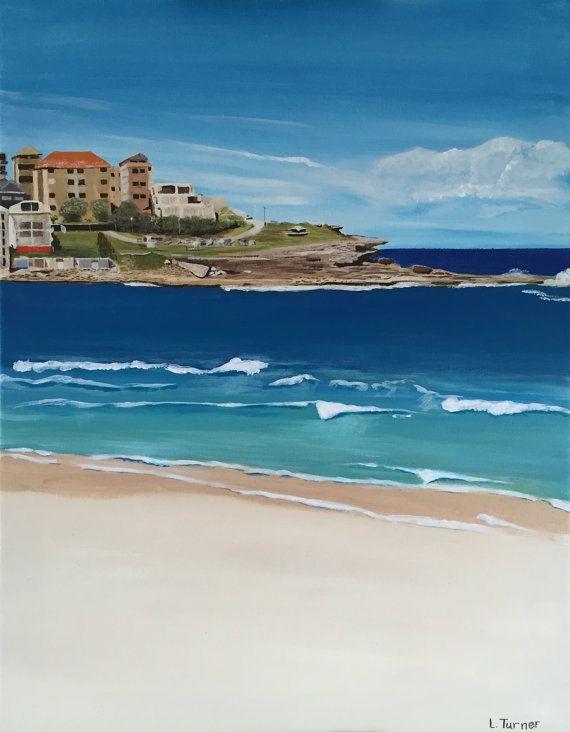 Bondi Beach Painting, Original, Acrylic on Canvas, Australian Artist, Ready to Hang, Coastal