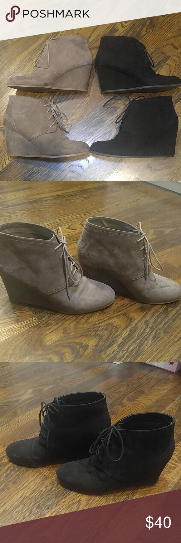 Wedge Ankle Booties (2 pair) 2 pair of Women's suede lace up ankle booties w wedge heel. Minimally worn. I had them for one season. Only sign of wear are the marks on the black pair (see pic 4). The tan pair doesn't have any marks. Price is for BOTH pairs! Original price was $60 a pair. Steal of a deal!!!! Bundle w another item and save!!! Arizona Jean Company Shoes Ankle Boots & Booties