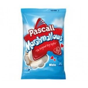A box of 12 bags of White Pascall Marshmallow's. Delicious, soft white Pascall Marshmallow's. Each bag weighs 125 grams.