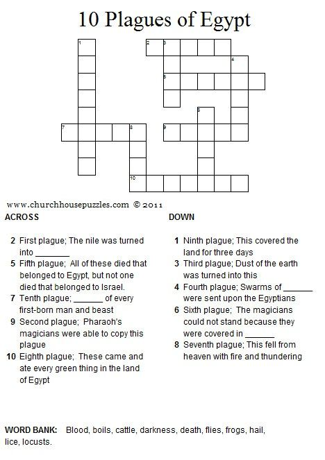 10 Plagues of Egypt crossword