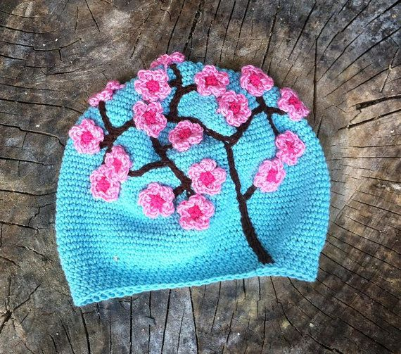 Crochet pattern - Turquoise Hat with Pink Blossom/children/ girls / toddler / Adult / woman $5.00 USD