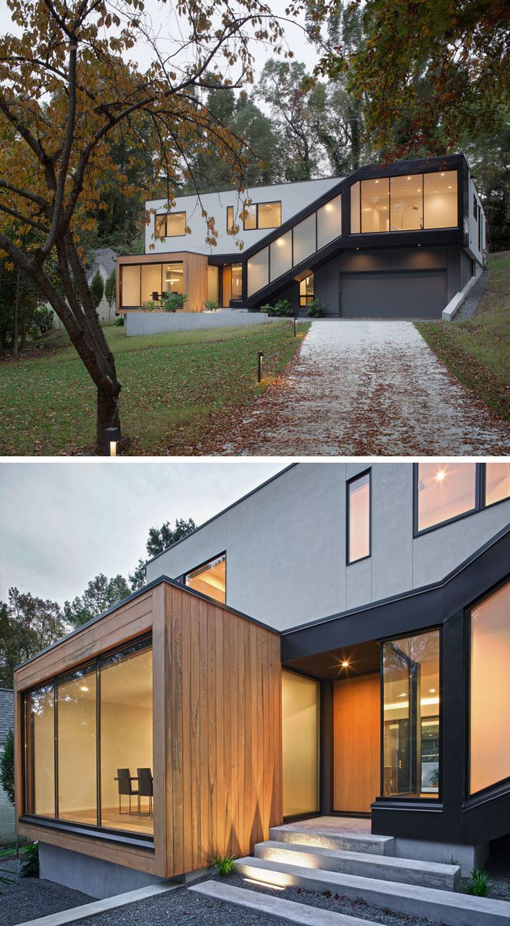 This new contemporary home, designed by in situ studio, sits tucked into a sloped property in Raleigh, North Carolina.