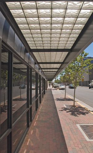 glass blocks as outdoor canopy