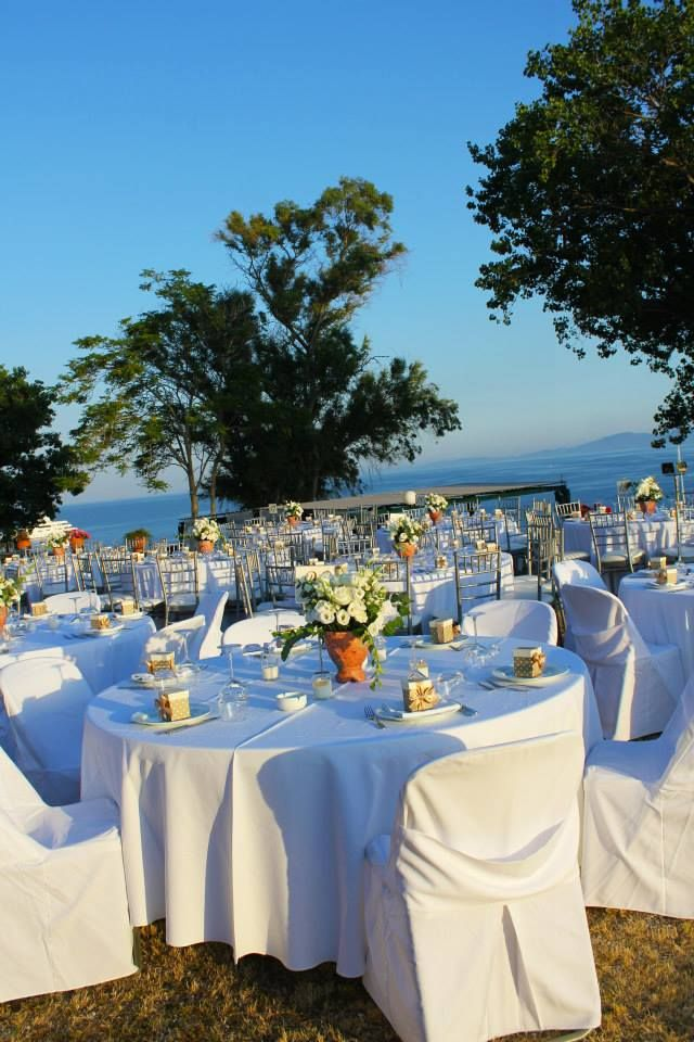 Wedding tables set up | Corfu  Keyhole View: Theme levels for diner and party respectively.