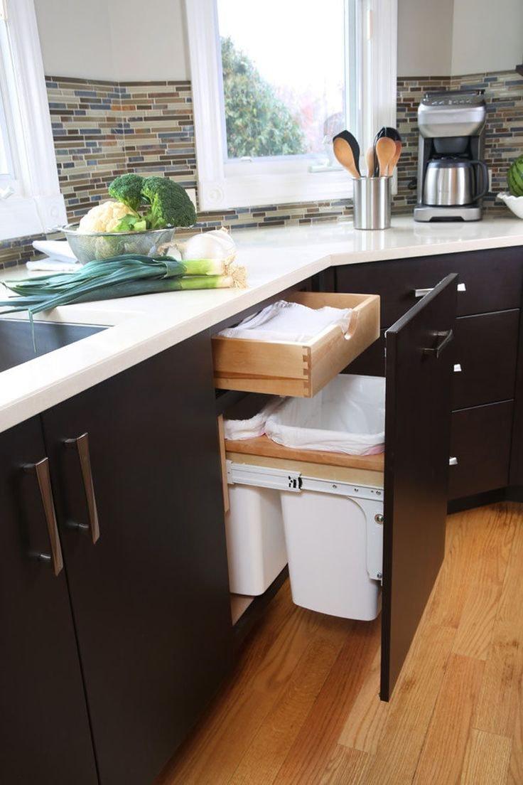 25 best ideas about trash bins on pinterest trash can cabinet hidden trash can kitchen and - Kitchen trash can ideas ...