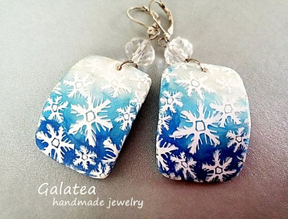 Winter Snow earrings Frozen jewelry Holiday Snowflakes earrings Christmas earrings Woman Xmas gift for wife Handmade Snowflakes gift for mom