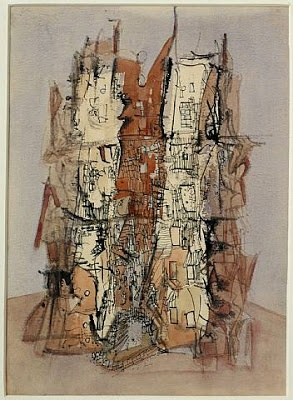 Wols, Untitled (Cathedral), c. 1945. Wols was the pseudonym of Alfred Otto Wolfgang Schulze (1913- 1951), a German painter and photographer predominantly active in France. Noted for his etchings and for his use of stains (taches) of color dabbed onto the canvas (as exemplified by his painting Composition, c. 1950), Wols pioneered a new style of expressive abstraction. Though unrecognized in his lifetime, he is considered one of the most influential artists of the Tachisme movement.
