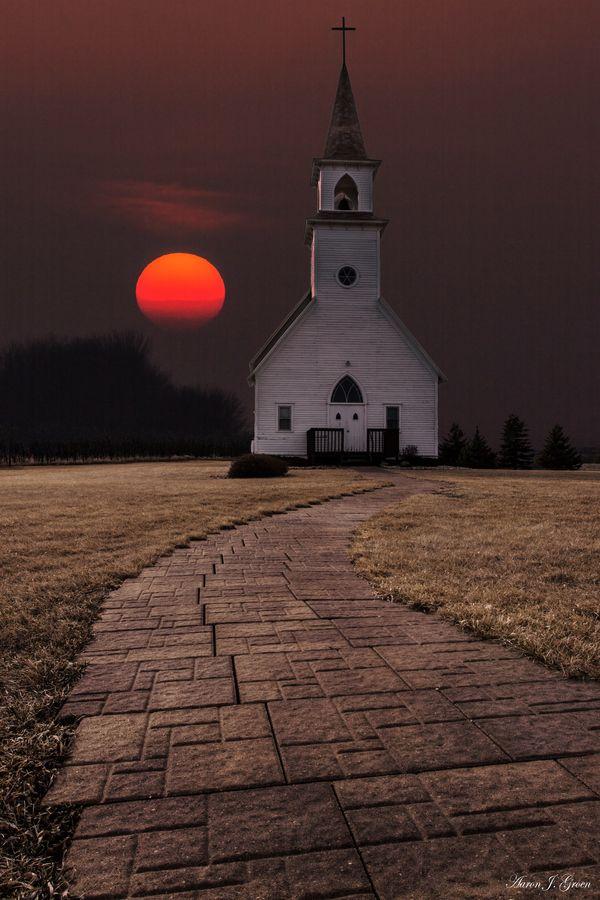 Fort Belmont Sunset in Delafield Church., Jackson, Minnesota