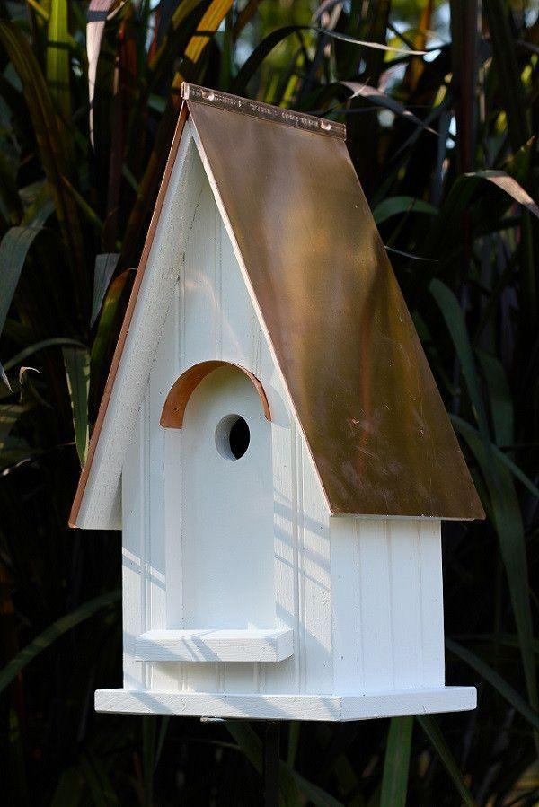 White Gables Bright Copper Roof Bird House Buildabirdhouse Rusticlandscapefrontyard Bird House Bird House Kits Bird Houses