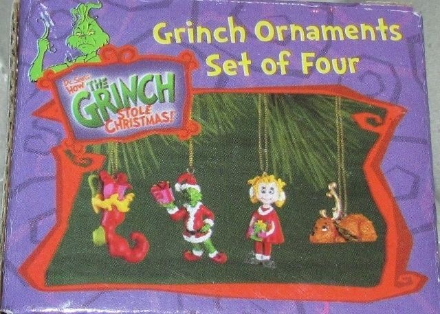 Dr Seuss How the Grinch Stole Christmas Set of 4 Mini Ornaments Max Cindy Lou  #Grinch #Max #DrSeuss