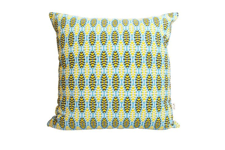Shweshwe Shields in Blue Cushion Cover by handmade by me