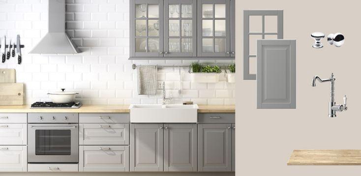FAKTUM kitchen with LIDINGÖ grey doors/drawers/glass-doors and ÅKERBY oak worktop