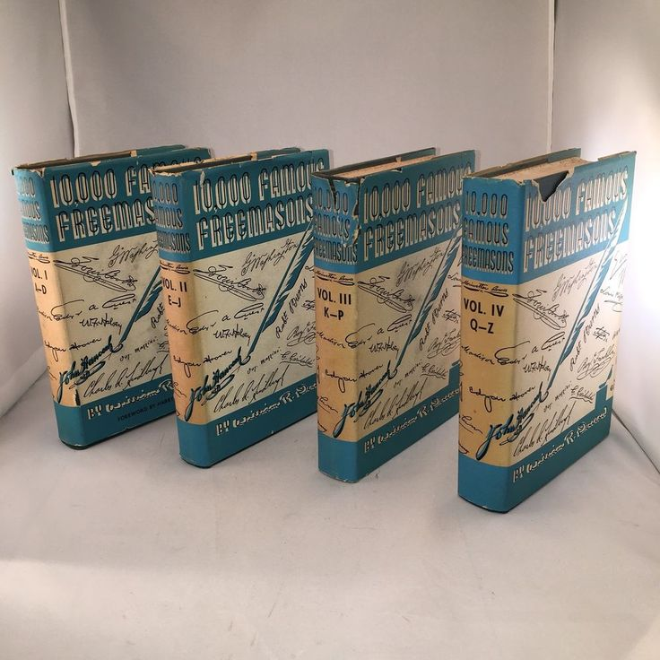 10,000 FAMOUS FREEMASONS Books Vols I-IV Masonic Hardcover w Dust Jackets 1957