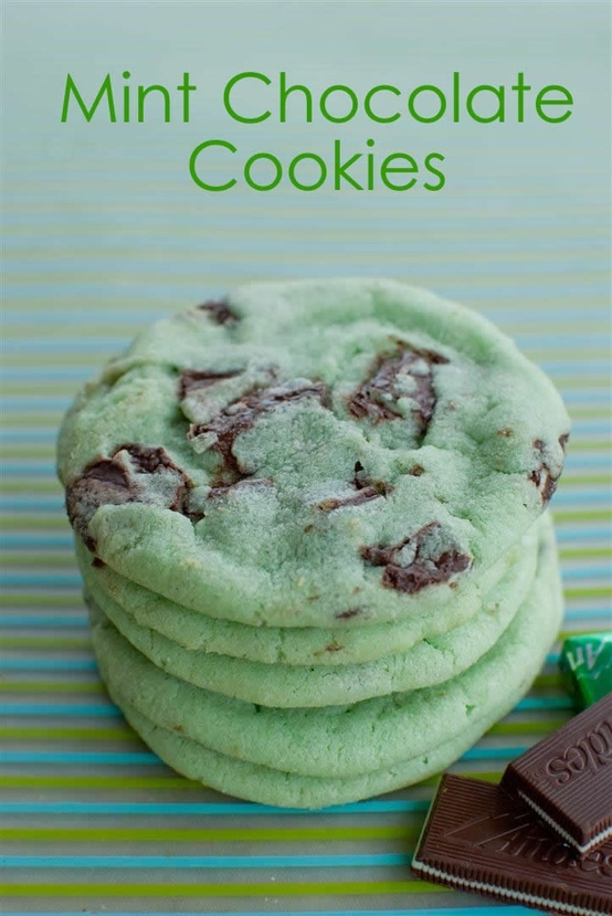 Mint Chocolate Chip Cookies - Click image to find more Holidays & Events Pinterest pins