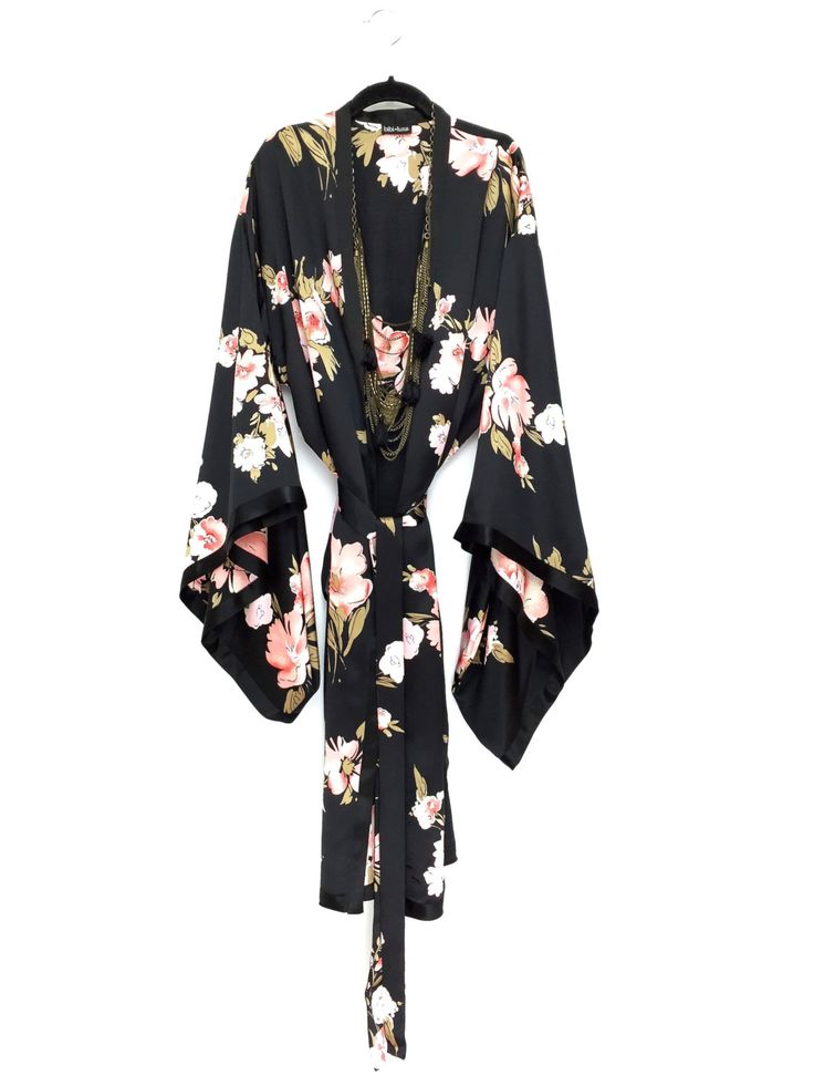Pure Silk satin long Kimono jacket / cover up / lingerie robe in a black and pink floral print by Bibiluxe on Etsy https://www.etsy.com/listing/271097419/pure-silk-satin-long-kimono-jacket-cover