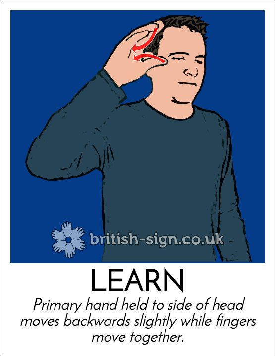 Today's #BritishSignLanguage (#BSL) sign is: LEARN