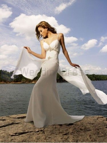 A-line Chiffon Embroidered Bodice V-shaped Neckline Sweep Train Wedding Dresses