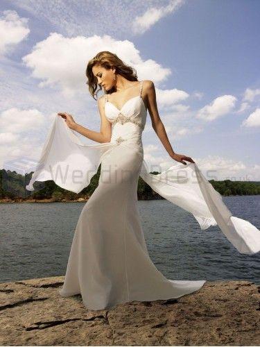 A-line Chiffon Embroidered Bodice V-shaped Neckline Sweep Train Wedding Dresses