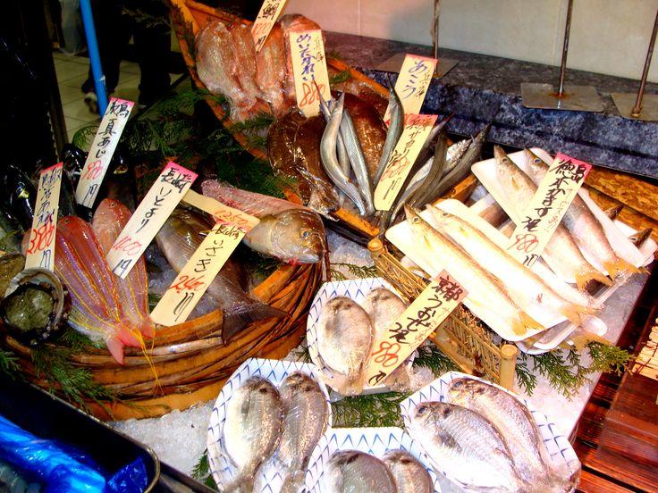Seafood display at Nishiki Market in Kyoto.