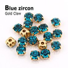 Blauw zirkoon naai rhinestone crystal stone gold klauw strass diamant stenen en kristallen voor trouwjurken kleding decoratie(China (Mainland))