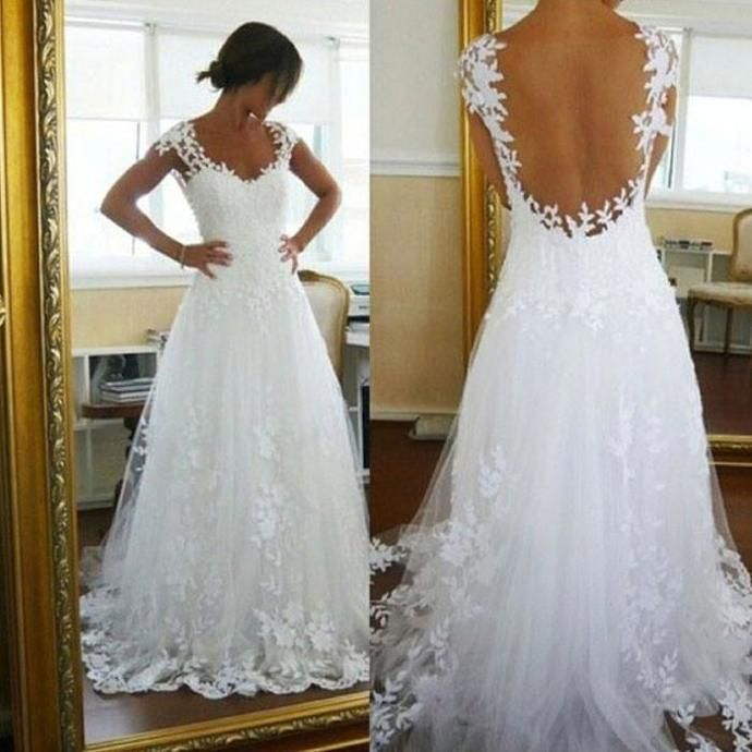 3ca82d6fe2 Elegant White Appliques Wedding Dress