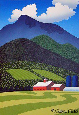 """Green Mountain Mowing"" - Sabra Field, Printmaker Love her wood blocks"