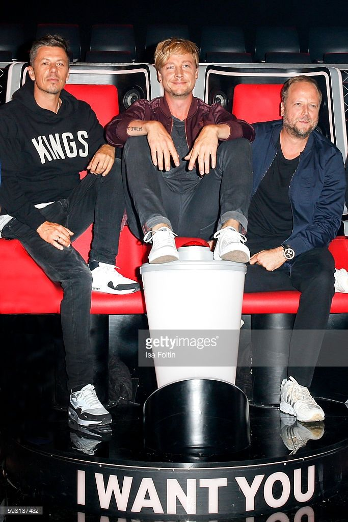 Michi Beck and Michael Bernd Schmidt alias Smudo, german singers and members of the band Die Fantastischen Vier and Samu Haber, finnisch singer and frontman of the band Sunrise Avenue attend the photocall for the six season of 'The Voice of Germany' on August 31, 2016 in Berlin, Germany.