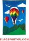 3-D Rainbow Hot Air Balloon House Flag