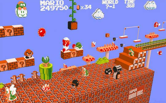 3D Renderings of Classic 8-Bit Video Games (Super Mario Bros.)