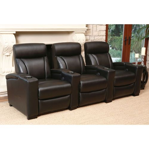 Romano 3 Piece Leather Power Media Recliners Black On Sale At Costco For