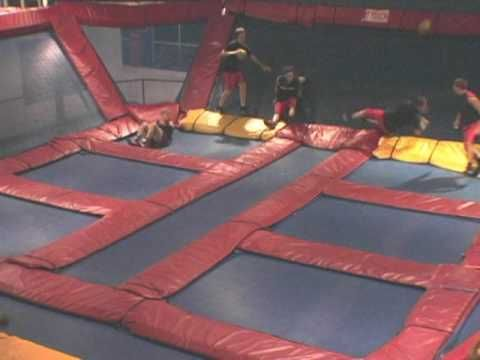 Dodgeball on a trampoline  Super Fun, and highly recommended.