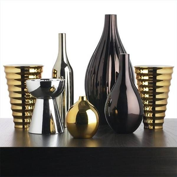 Black, Gold, And Silver Metallic Vases