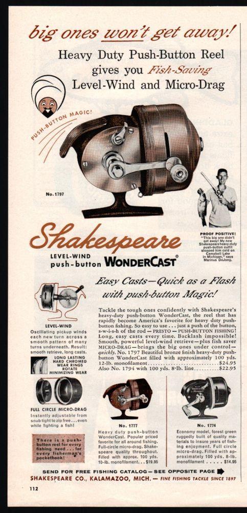 1960 SHAKESPEARE Wondercast Spinning Reel PRINT AD Vintage Fishing Advertising