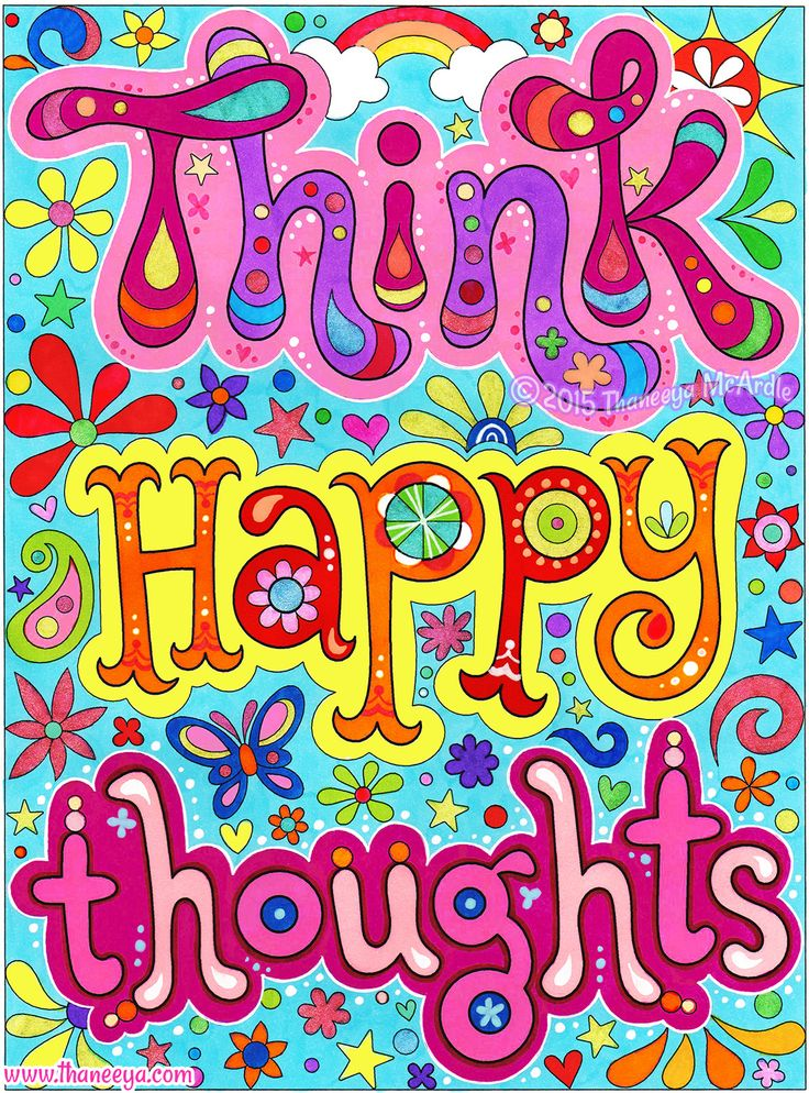 Think happy thoughts! This is a page from my Good Vibes Coloring Book,  which I colored in with Copic markers, Neon Sharpies, and glittery  Sakura gel pens.