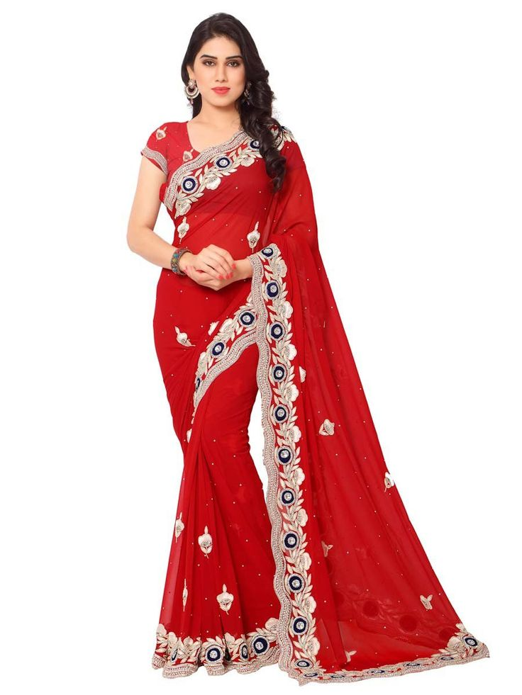 Glamorous red color saree invented on georgette having zari, resham work, Item code: SHJ116 http://www.bharatplaza.com/new-arrivals/sarees.html