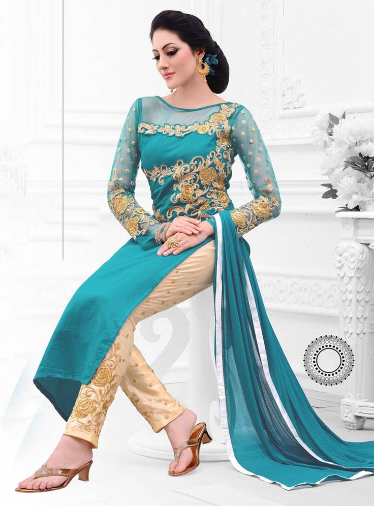 Aqua Cotton Satin Pakistani Style Suit 59737