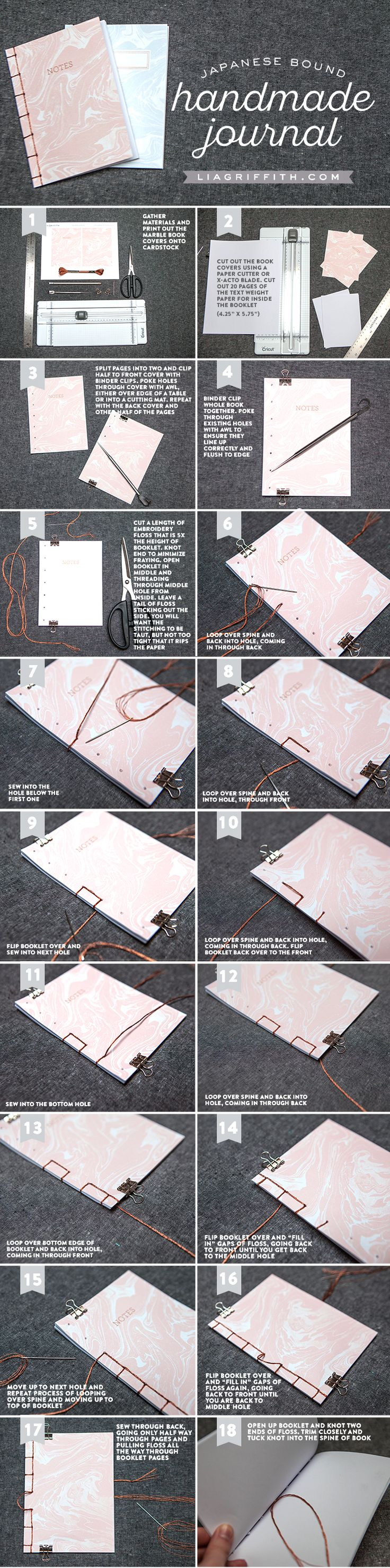 Follow our easy step-by-step tutorial to bind a handmade journal. Download our pretty marbled covers and pop a journal into your purse for easy note-taking!