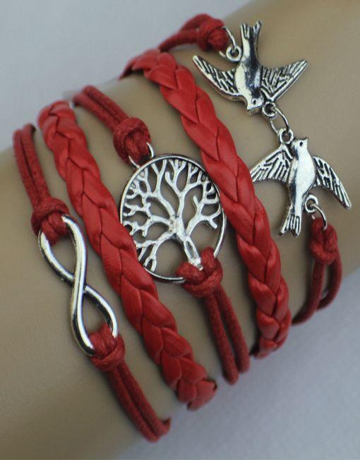 Birds, Tree, Infinity Wrap Bracelet – Red  $15.00  Fashion Jewelry at Modest Prices - www.gomodestly.com