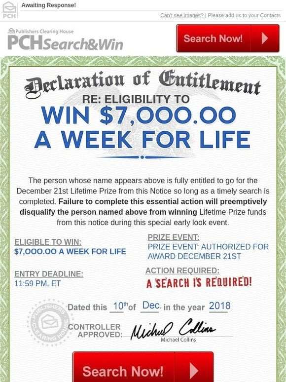 Declaration of Entitlement Enclosed! - Publishers Clearing House