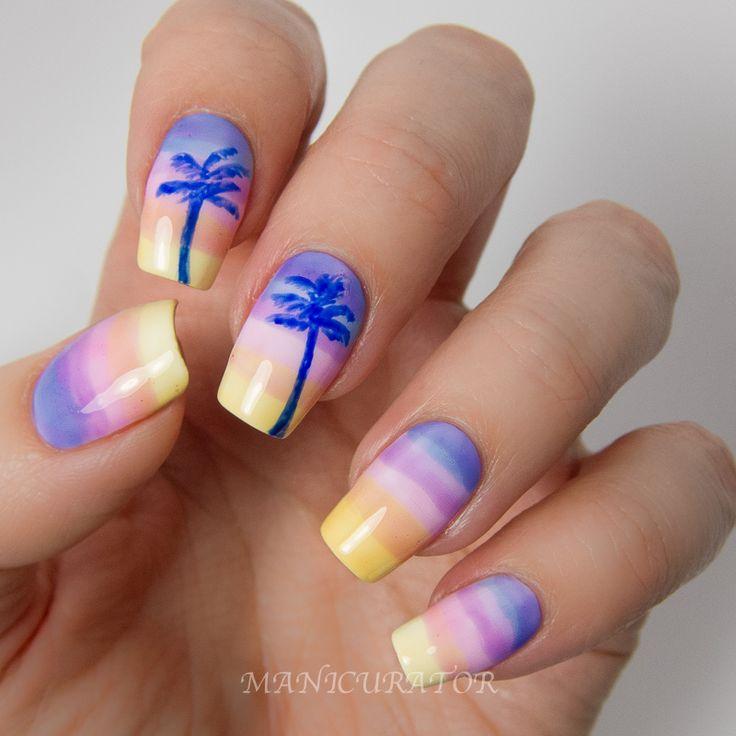 OPI-Sheer-Tints-Summer-Gradient-Palm-Tree-Nail-Art: Nailart, Palms Trees Nails, Summer Gradient, Beaches Nails, Palm Trees, Summer Nails, Gradient Nails, Nails Art Design, Nail Art