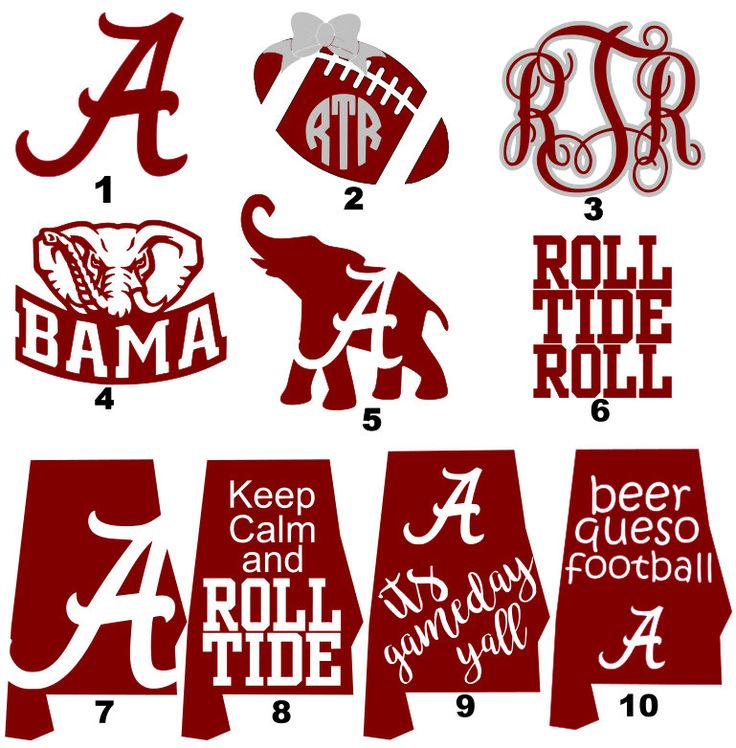 A personal favorite from my Etsy shop https://www.etsy.com/listing/459971208/alabama-decals-roll-tide-alabama